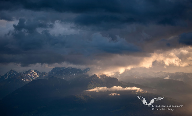 June 2011. Evening light after a quite impressive thunderstorm. View from the Hinterhornalm down into the Halltal
