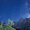 Dalla Val Saisera, notturno con il gruppo dello Jof Fuart (il Grande Nabois di fronte) e la Via Lattea. <br /> <br /> Foto n° 040913-572548#SX