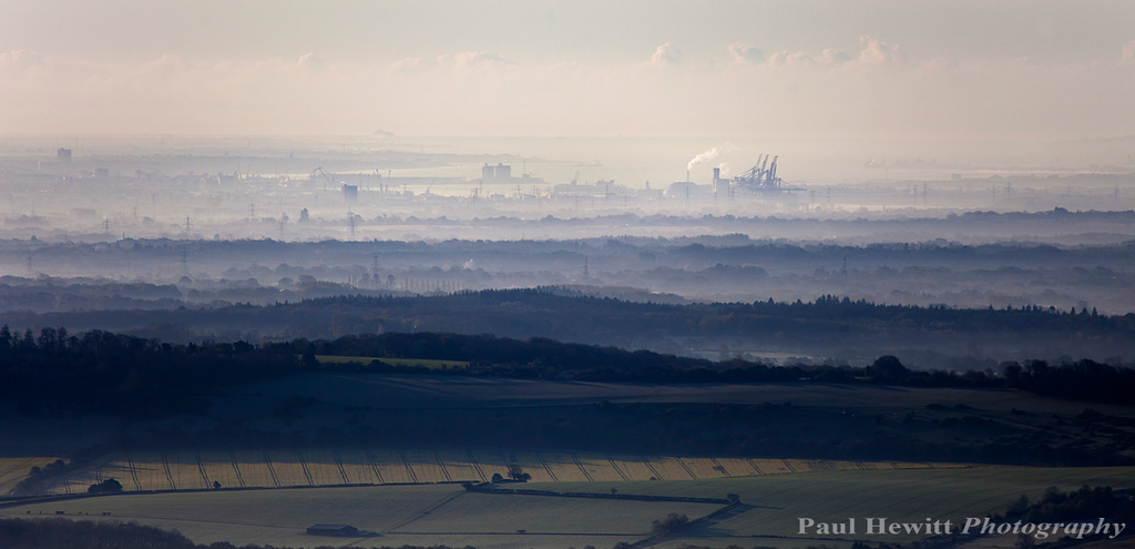 Southampton docks and Isle of Wight from Salisbury