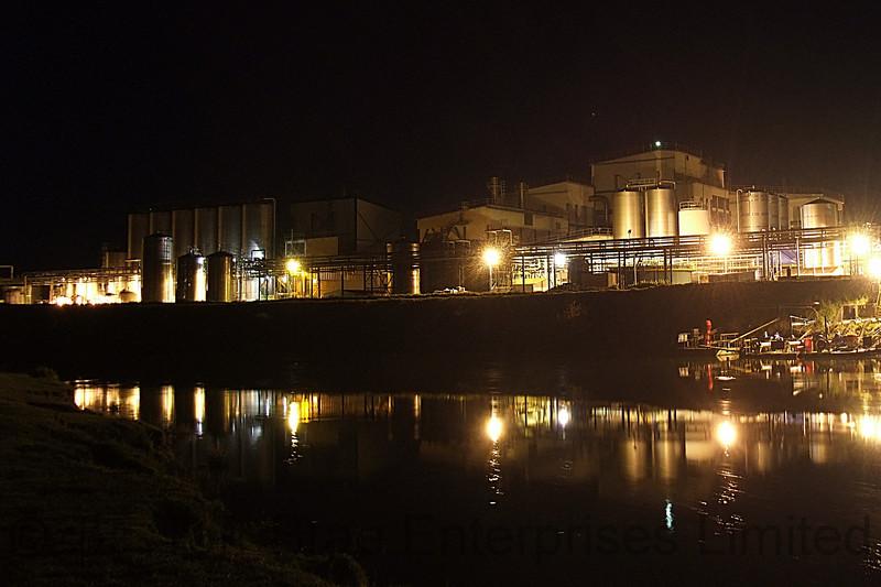 Fonterra Dairy Factory, Edgecumbe at night - from across the Rangitaiki River