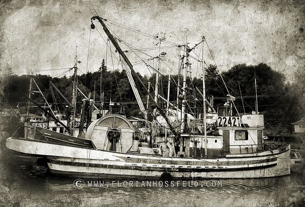 Old fisherman boat (color version available)