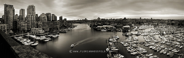 Panorama on Granville Island & Yaletown (color version available)