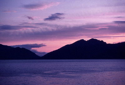 Sunset afterglow over Ardgour from near Ballachulish, Scotland