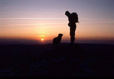 Sunset sillouettes, Grindslow Knoll, Edale, Derbyshire, England