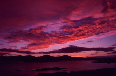 Sunset over Macleods Tables and Loch Bracadale from Ullinish, Isle of Skye, Scotland