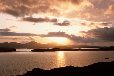 Sunset over Loch Bracadale and Macleods Tables from near Fiskavaig, Isle of Skye, Scotland