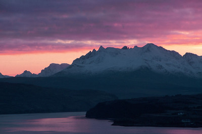 Winter sunset over the Northern Black Cuillins, from Ullinish, Isle of Skye