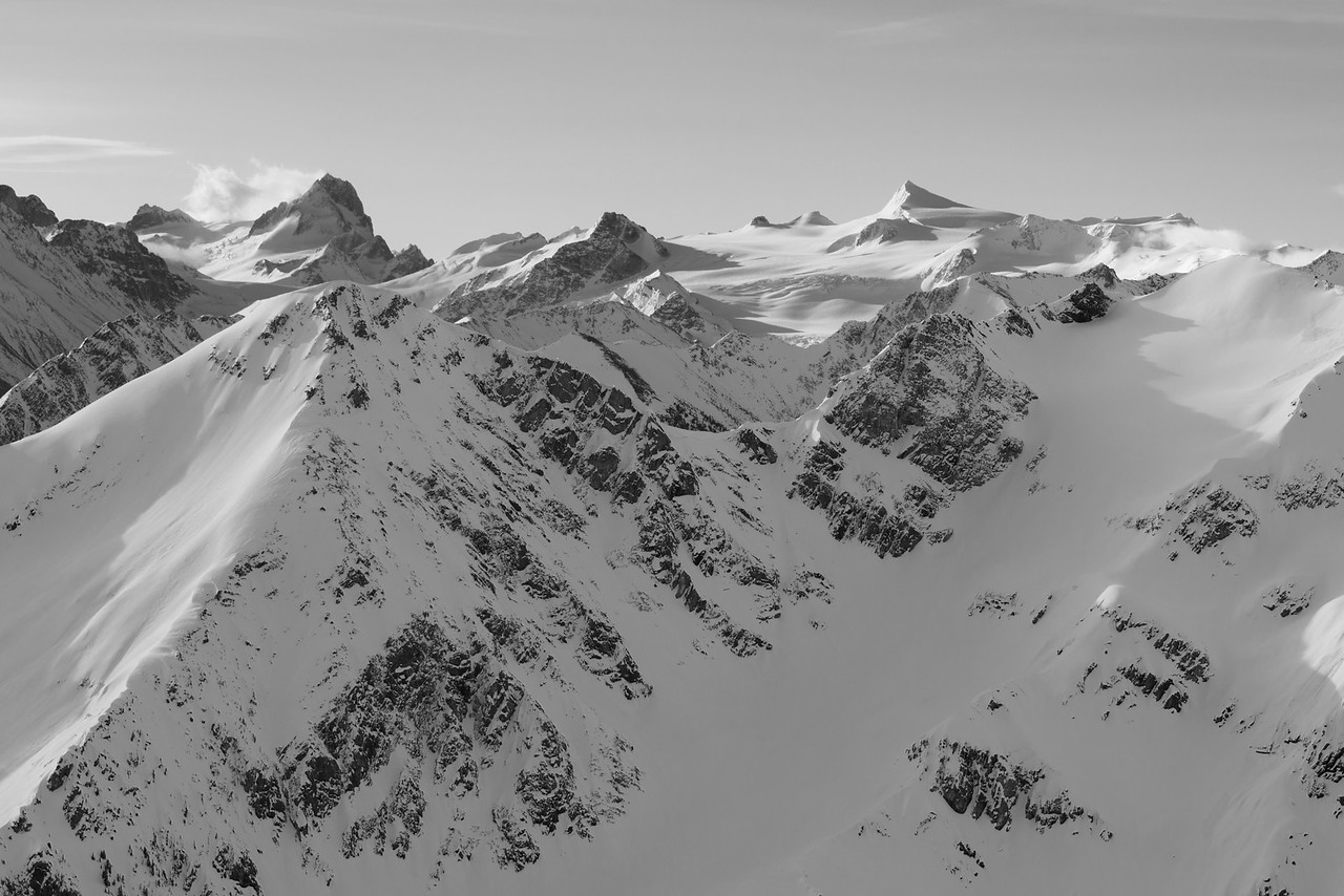 The Bugaboos and Conrad Icefield from the North