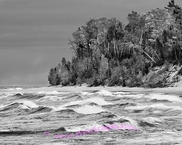 Hurricane River Beach, walking towards Au Sable Light Station, Pictured Rocks National Lakeshore, Michigan.