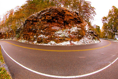 The sharp 180 turn at the top of the mountain in Hungry Mother Park on Route 16. The Back of the Dragon runs 32 miles between Marion, Virginia and Tazewell. The challenging mountain road has reverse curves, switchbacks, and steep mountain grades.
