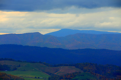 A view of the mountains west of Marion from the top of Route 16 in Hungry Mother Park. The Back of the Dragon runs 32 miles between Marion, Virginia and Tazewell. The challenging mountain road has reverse curves, switchbacks, and steep mountain grades.