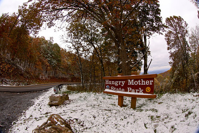 At the top of Hungry Mother Park along Route 16 just west of Marion. The Back of the Dragon runs 32 miles between Marion, Virginia and Tazewell. The challenging mountain road has reverse curves, switchbacks, and steep mountain grades.