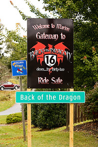 The Back of the Dragon sign in Marion, Virginia. The road runs 32 miles between Marion, Virginia and Tazewell. Now this road is attracting visitors on Harley's and BMWs and Corvettes who want to drive the banked reverse curves, switchbacks, and mountain grades that make this such a challenging road.