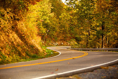 An S-curve along Route 16. The Back of the Dragon runs 32 miles between Marion, Virginia and Tazewell. The challenging mountain road has reverse curves, switchbacks, and steep mountain grades.