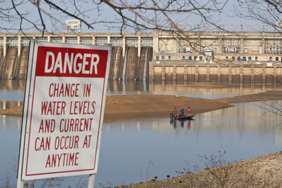 Taken 1-16-11 on a 20 degree morning.  Water levels are much lower than the March 2008 photos. Bagnell Dam, Lake of the Ozarks Missouri