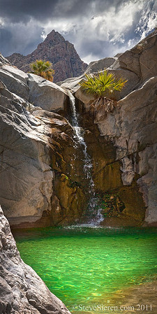 Baja California (scroll panorama) Mineral water from a mountain spring near Guadalupe Peak pours in the emerald pool cold spring in this secluded desert Canyon.