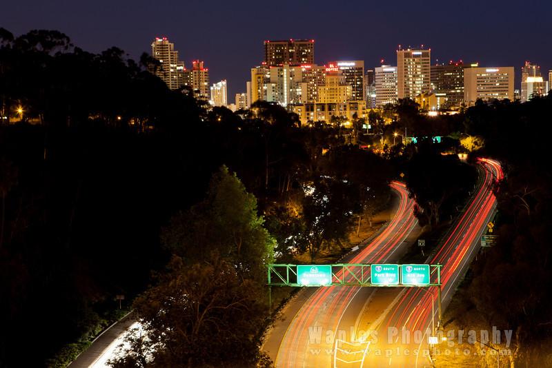 San Diego Skyline at Night from Cabrillo Bridge
