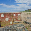 The famous dice on the beach at Bamburgh