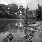 Foggy Peaks at Moraine Lake