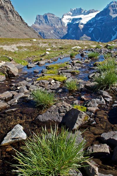 Streams flow down to Moraine Lake