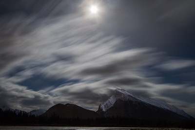Just back from a trip to the Prairies, so when I saw that the full moon was dancing through the clouds I had to get out. I really feel this long exposure gives the feeling of flow in the clouds and over Mt. Rundle