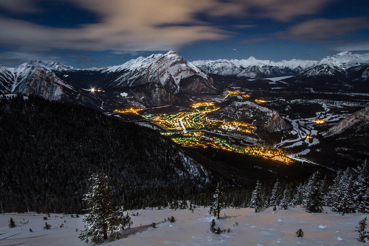 Banff from on high. A wider composition from wednesday night up on Sulphur. this one also includes Mt.Norquay and the North American runs, and my favourite local peak Mt. Aylmer (way back standing out above Lake Minnewanka