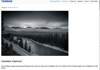 Tamron USA published my images from Banff. You can read about my adventures in Banff here:http://www.tamron-usa.com/enews/archives/2017/may217_gilligan.html