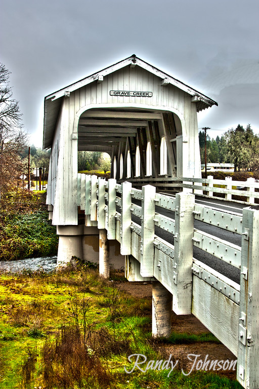 The Grave Creek Covered Bridge was Constucted in 1920 by Elmer J Nelson in Josephine County Oregon.