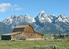 Barn on Mormon Row, Antelope Flats, Wyoming, in front of the Tetons.  One of  the most photographed barns in the world.  Taken June 2013.