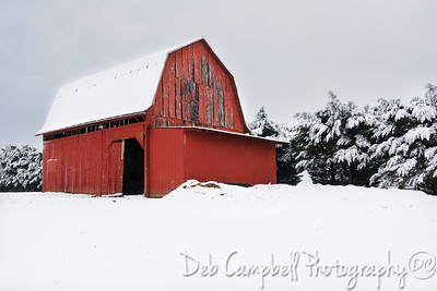 Winter Red Barn
