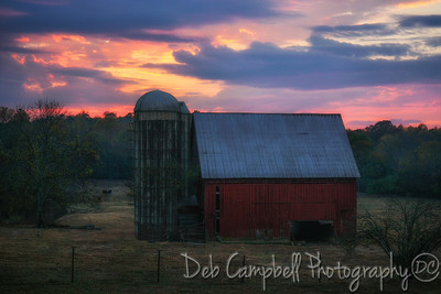 Little Red Barn at Sunset