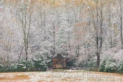 John Oliver Cabin in Autumn Snow