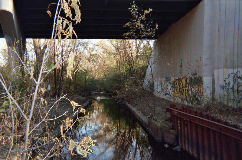 The Cedar Lake Road bridge.<br /> Downstream view.<br /> Photo by Dave Stack.