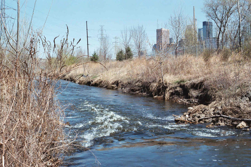 Approx. 100' downstream from the Irving Avenue bridge.<br /> Downstream view.<br /> Photo by Dave Stack.