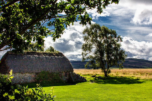 The Leanach cottage at the Culloden Battlefield, Scotland.