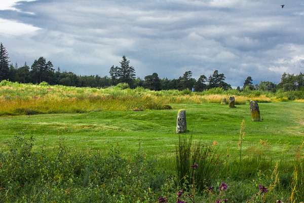 Highlanders' Mass Graves, Culloden Battlefield, Scotland (the blue flag is the original Highland line)