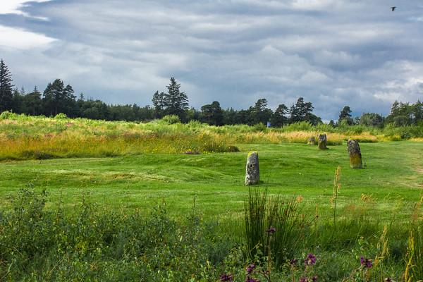 Highlanders' Mass Graves, Culloden Battlefield, Scotland (the blue flag is the original Highland line)