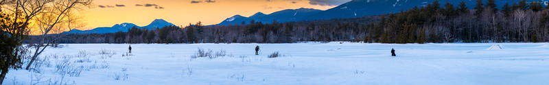 Chris Lawrence, Garrett Evans, and Colin Chase explore the ice formations on River Pond at sunset along the Golden Road, February 24, 2018, 17:17.  25 image handheld panorama at 200mm, f/5.6, ISO 64, and 1/25 - 1/8 shutter speeds.