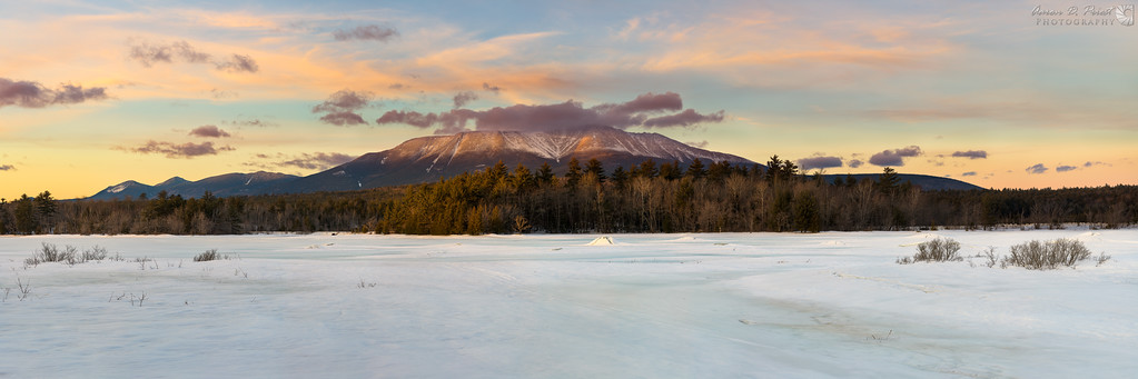 Sunset over Mt. Katahdin from River Pond