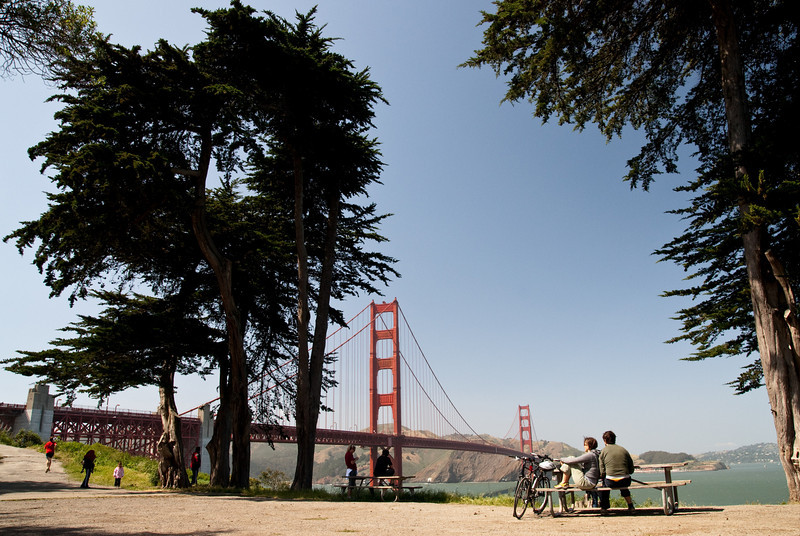 One of the best spots to see the Golden Gate Bridge, just a short hike away from Fort Point.
