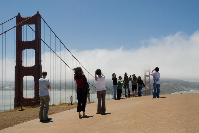 Posers in front of the Golden Gate Bridge.