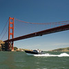 The world's first hybrid-engine motoryacht, made by Austrian firm Frauscher, visiting the Golden Gate.