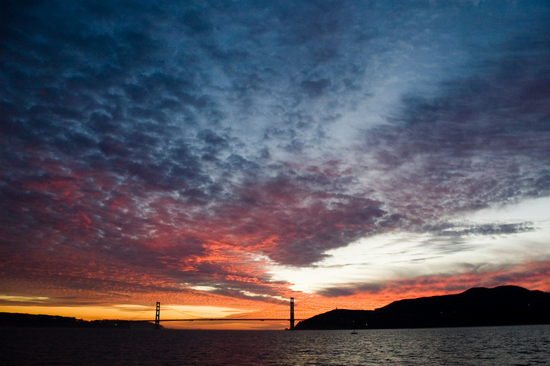 Dramatic evening sky over the Golden Gate. A lucky snapshot on a ferry ride back from Sausalito.