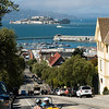 "Uphill ""GoCar"" ride on Hyde Street, with Alcatraz in the background."