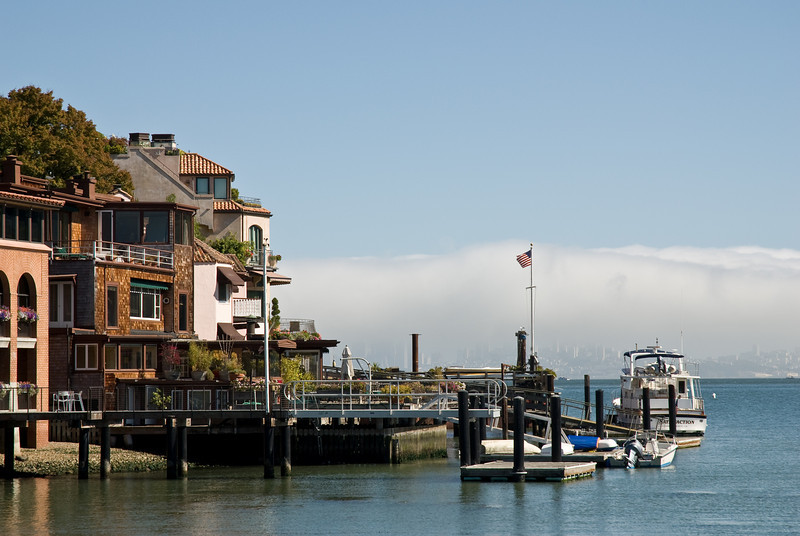 Tiburon basking in the sun while San Francisco is covered by a blanket of coastal fog.
