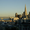Downtown San Francisco shortly before sunset.