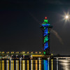 Bicentenial Tower Moon Set Awareness Month