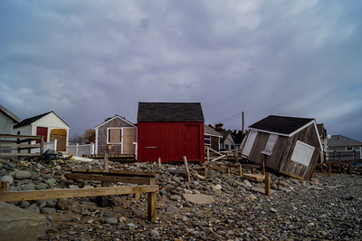 Small Beach houses in North Hampton, NH knocked off of their foundations during the Winter Storms.