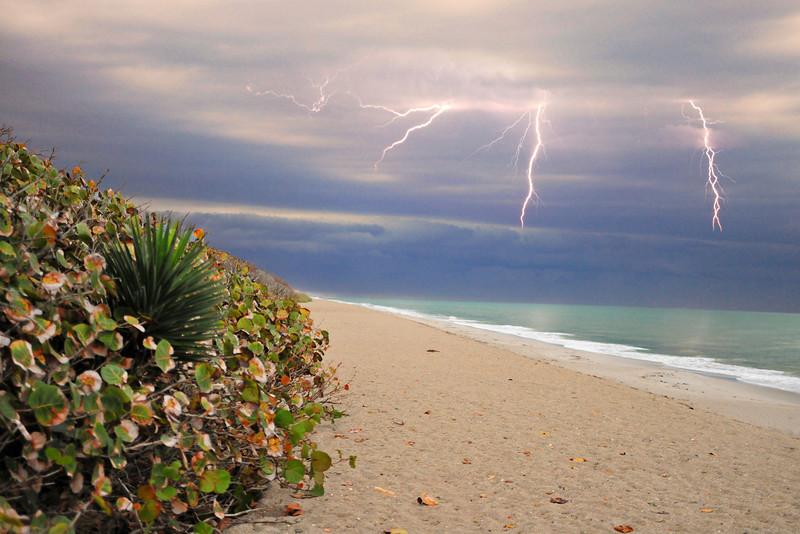 Lightning over the Beach<br /> Satellite Beach, Florida<br /> 030-8745m
