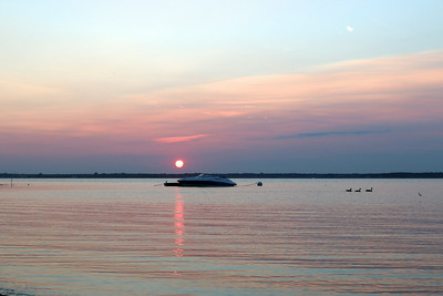 Pike's Beach at sunset.